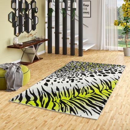 Designer Teppich Carat Leopard Zebra Grau Grün