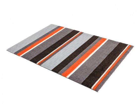 fu matte sch ner wohnen brooklyn streifen grau orange in 2 gr en fu matten sch ner wohnen fu matten. Black Bedroom Furniture Sets. Home Design Ideas