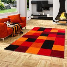 Designer Teppich Brilliant Rot Orange Karo online kaufen
