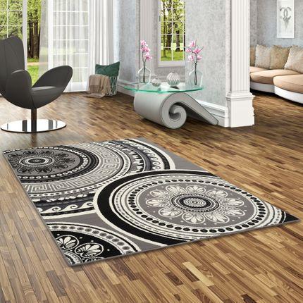 Teppich Trendline Mandala Schwarz Creme in 4 Größen