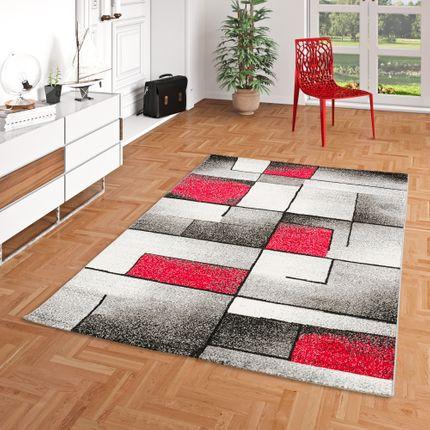 Designer Teppich Brilliant Rot Grau Fantasy