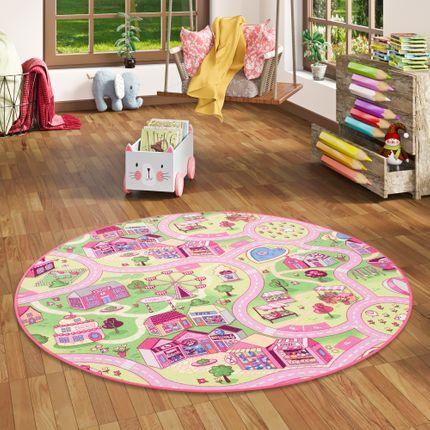 Kinder Spiel Teppich Girls Rosa Village Rund online kaufen