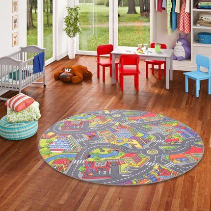 Kinder Spiel Teppich Little Town 3D Grau Rund