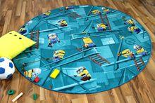 Kinder Spiel Teppich MINIONS Türkis Rund online kaufen