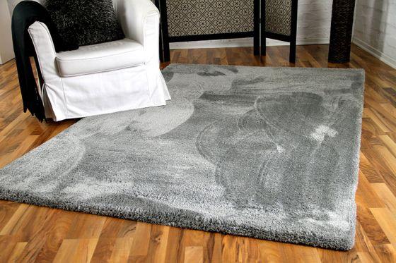 Luxus Shaggy Hochflorteppich Silky Soft Grau online kaufen