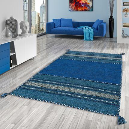 Natur Teppich Kelim Navarro Blau online kaufen