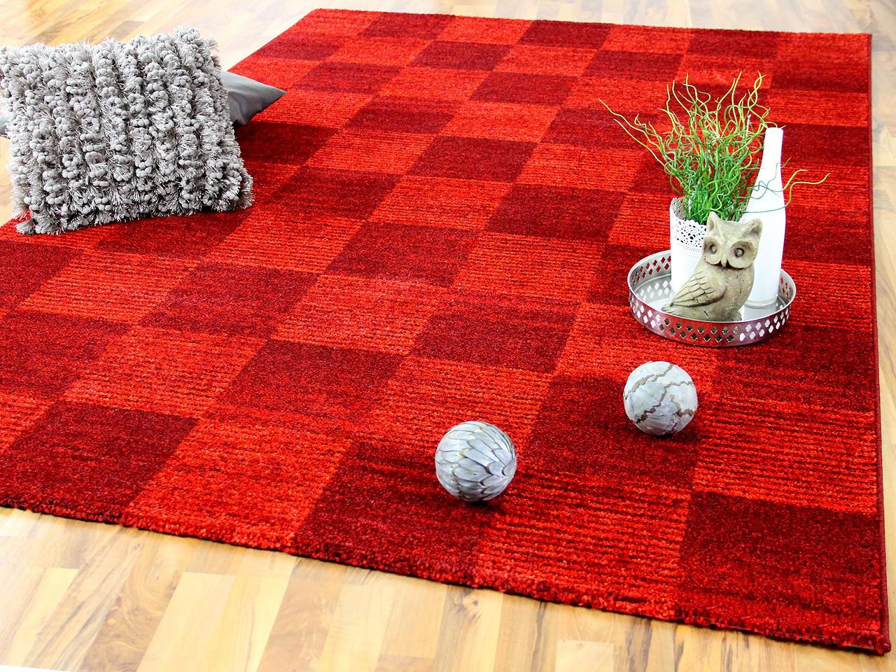 designer teppich faro rot karo sonderaktion ebay. Black Bedroom Furniture Sets. Home Design Ideas