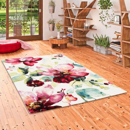 Designer Teppich Brilliant Rosa Blumen