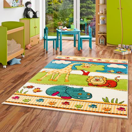 Kinder Teppich Savona Kids Lustige Zoowelt Bunt
