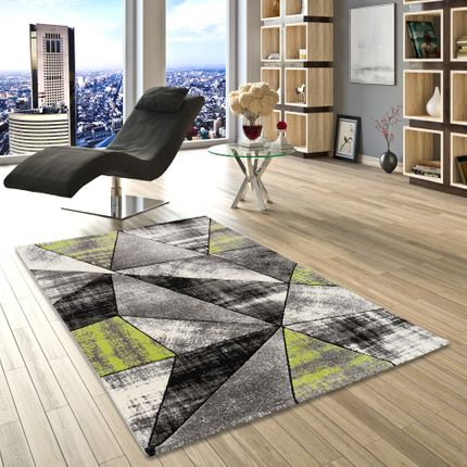 Designer Teppich Brilliant Grau Grün Magic