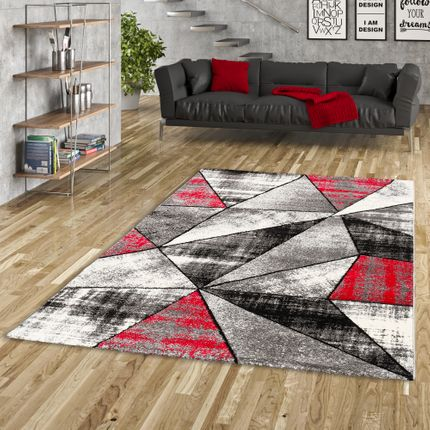 Designer Teppich Brilliant Rot Grau Magic