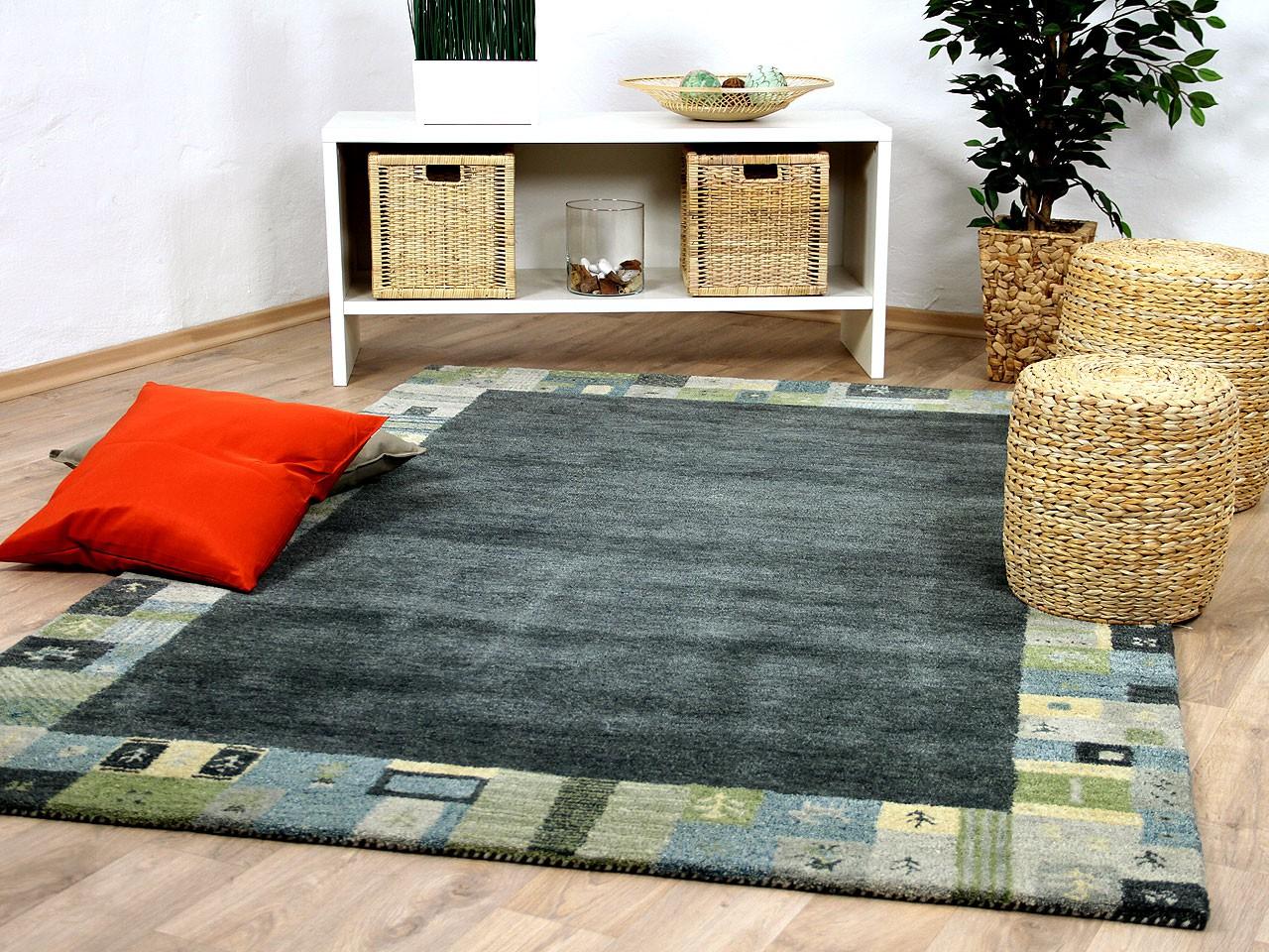 natur teppich indo gabbeh esta grau gr n bord re ebay. Black Bedroom Furniture Sets. Home Design Ideas
