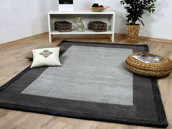 Natur Teppich Indo Nepal  Padma Grau Bordüre online kaufen