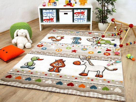 Kinder Teppich Savona Kids Farm Tiere Bunt online kaufen