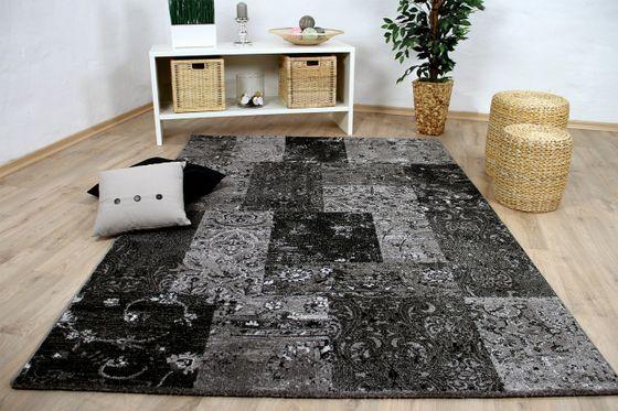 Designer Teppich Sevilla Modern Anthrazit Karo Barock online kaufen