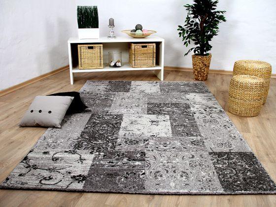 Designer Teppich Sevilla Modern Grau Karo Barock online kaufen