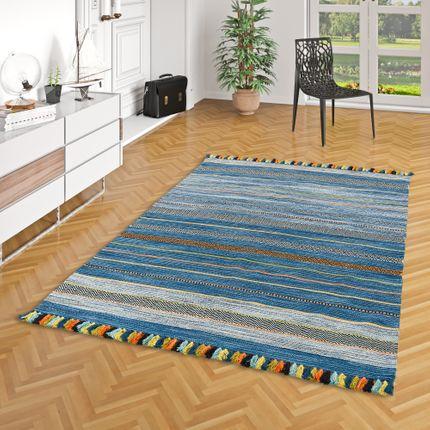 Natur Teppich Kelim Kalleen Blau