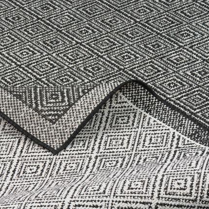 In- und Outdoor Teppich Beidseitig Flachgewebe Hampton Schwarz Meliert