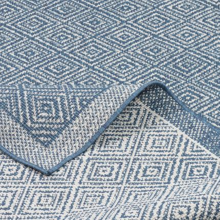 In- und Outdoor Teppich Beidseitig Flachgewebe Hampton Blau Meliert