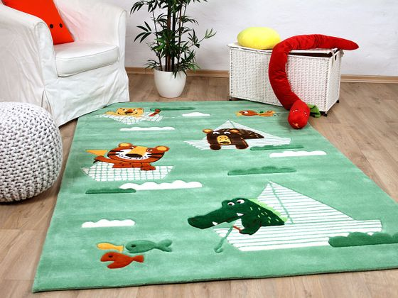 Lifestyle Kinderteppich Funny Animals Mintgrün