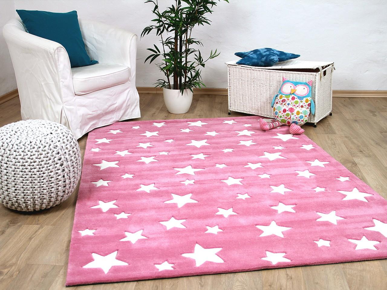 Kinderteppich sterne rosa  Lifestyle Kinderteppich Sterne Rosa Teppiche Kinder- und ...