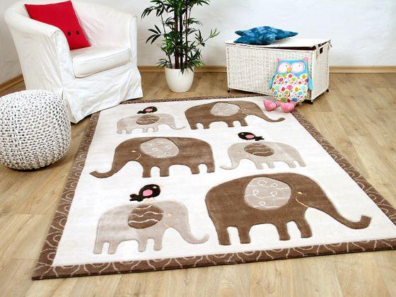 Lifestyle Kinderteppich Elefanten Familie Creme Beige  online kaufen