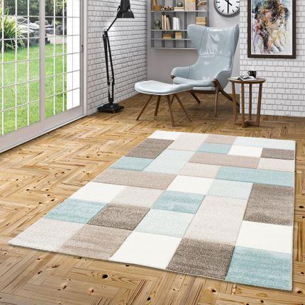 Designer Teppich Maui Pastell Blau Beige Karo online kaufen