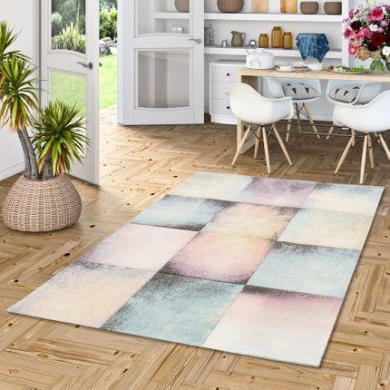 Designer Teppich Maui Pastell Rosa Karo Verlauf