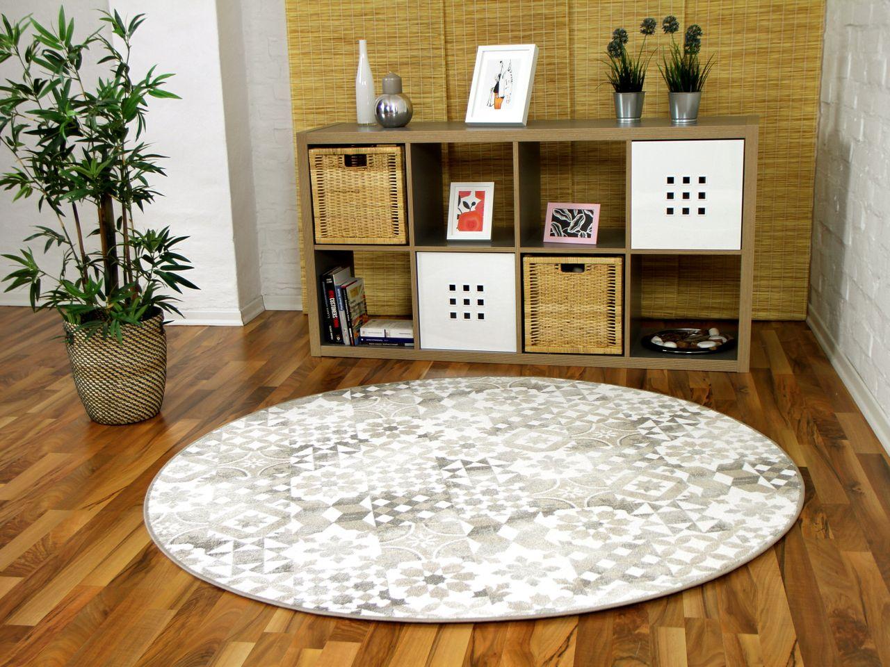 designer soft velours teppich finca beige rund teppiche. Black Bedroom Furniture Sets. Home Design Ideas