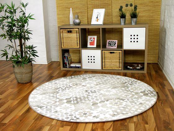 Designer Soft-Velours Teppich Finca Beige Rund  online kaufen