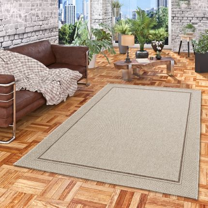 In & Outdoor Teppich Flachgewebe Natur Panama Grau Bordüre