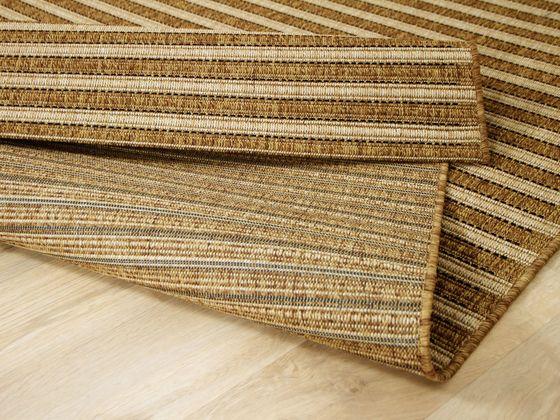 In & Outdoor Teppich Flachgewebe Natur Panama Nuss Streifen - ABVERKAUF online kaufen