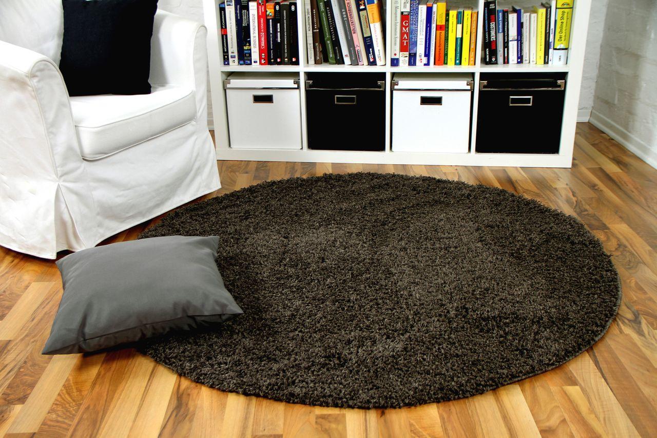 hochflor langflor shaggy teppich aloha dunkelbraun rund. Black Bedroom Furniture Sets. Home Design Ideas