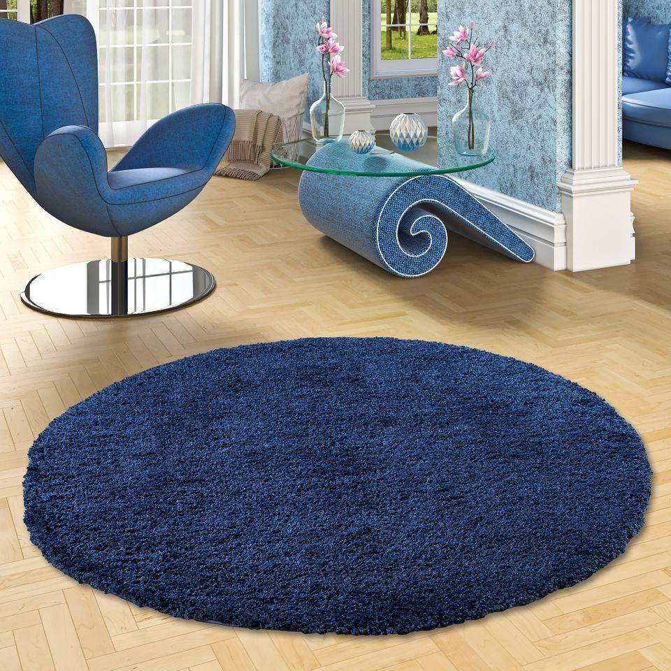 hochflor langflor shaggy teppich luxury denim blau rund. Black Bedroom Furniture Sets. Home Design Ideas