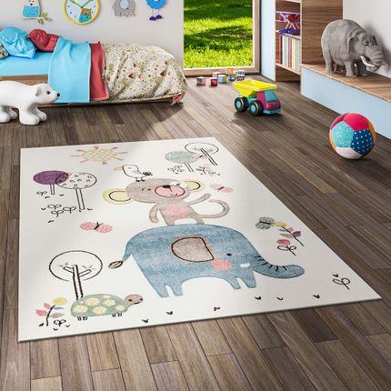 Kinder Teppich Maui Kids Lustige Tiere Creme Bunt