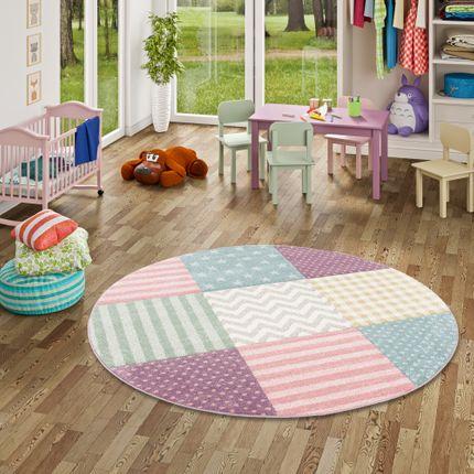 Kinder Teppich Maui Kids Pastel Bunt Karo Sterne Rund online kaufen