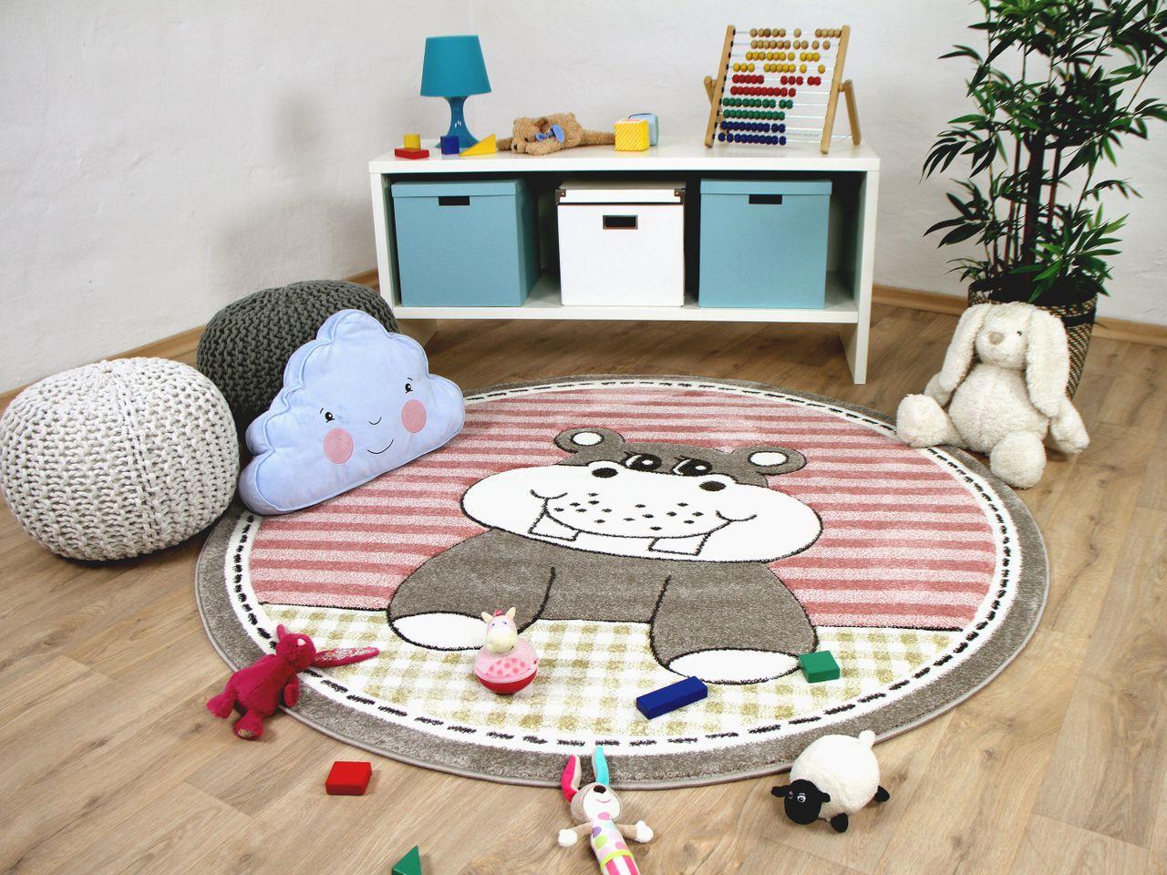 kinder teppich maui kids nilpferd rosa rund teppiche. Black Bedroom Furniture Sets. Home Design Ideas