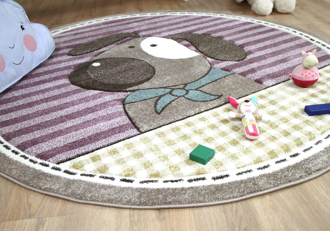 Kinder Teppich Maui Kids Hund Lila Bunt Rund Teppiche Kinder Und