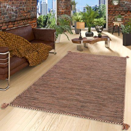 Natur Teppich Kelim Prico Beige Braun
