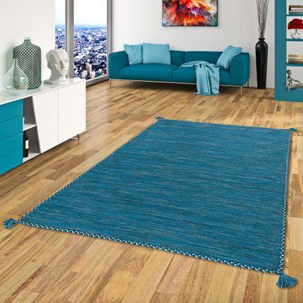 Natur Teppich Kelim Prico Blau Petrol