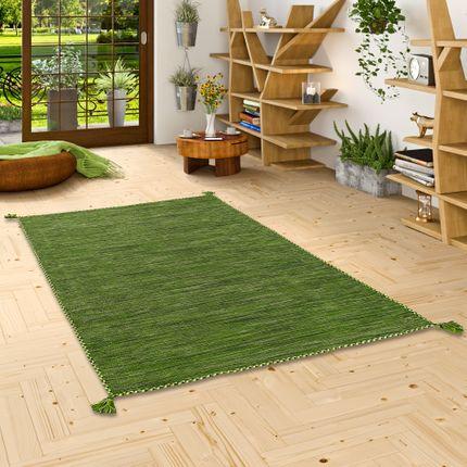 Natur Teppich Kelim Prico Grün