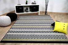Designer Teppich Sevilla Modern Schwarz Gelb Stripes online kaufen