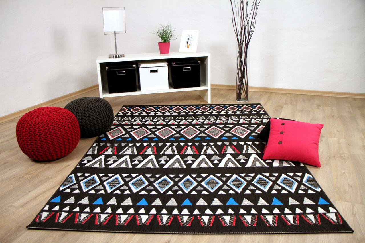 in und outdoor teppich flachgewebe carpetto ethno schwarz. Black Bedroom Furniture Sets. Home Design Ideas