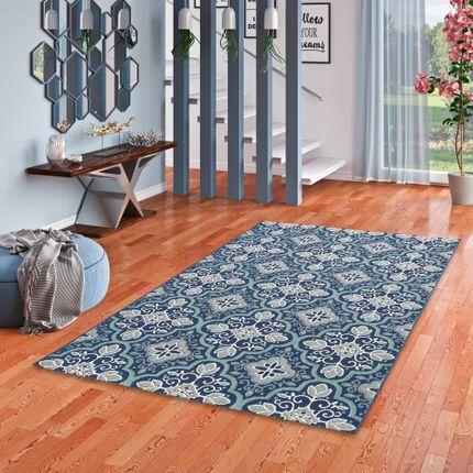 In- und Outdoor Teppich Flachgewebe Carpetto Fliesenoptik Blau online kaufen