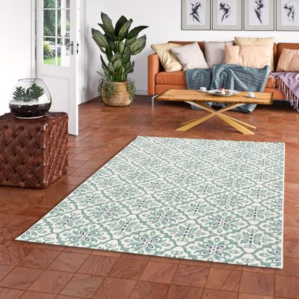 In- und Outdoor Teppich Flachgewebe Carpetto Fliesenoptik Mintgrün