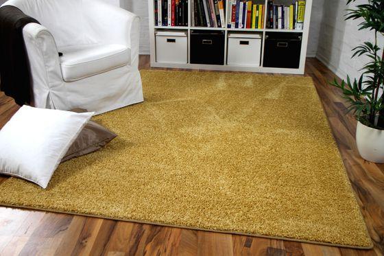 Hochflor Velours Teppich Mona Curry Gelb online kaufen