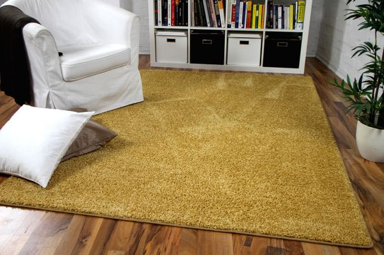 Hochflor Velours Teppich Mona Curry Gelb