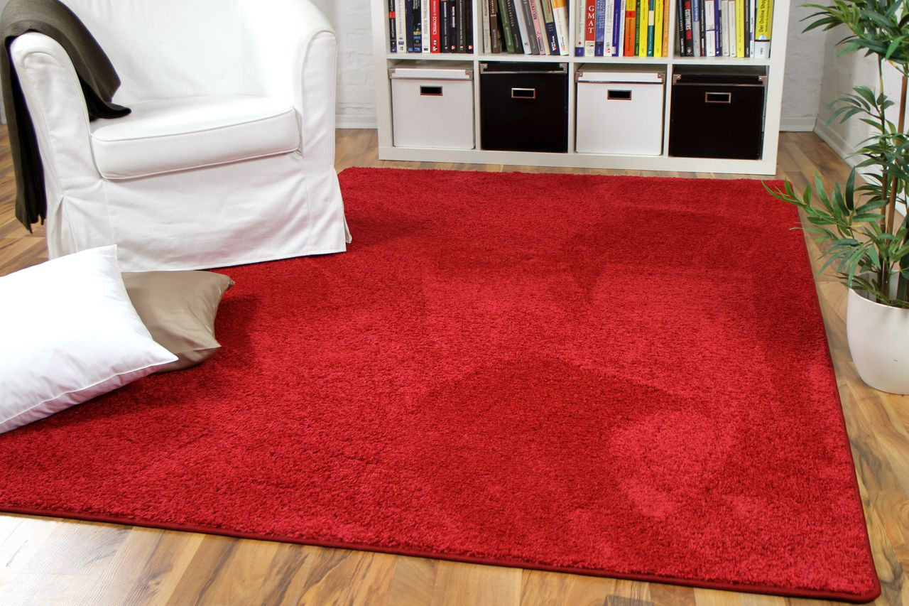 hochflor velours teppich mona rot teppiche hochflor. Black Bedroom Furniture Sets. Home Design Ideas