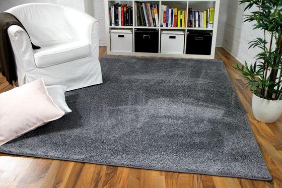 Hochflor Velours Teppich Mona Grau