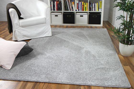 Hochflor Velours Teppich Mona Silbergrau online kaufen